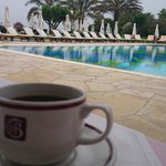 Coffee, black, by the pool at breakfast