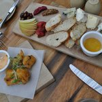 Their Artisanal Cheese Board and the cauliflower fritters
