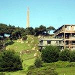 Hotel front and obelisk