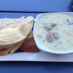 My chowder soup with two whole scallops. Delightful.