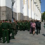 Soldiers queue for Armoury