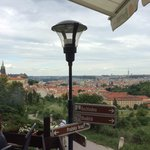 View from the outside deck overlooking Prague