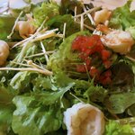 Mixed greens and steamed shrimp salad.