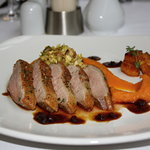 Roasted duck breast with orange and ginger sauce