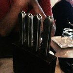 Cool knife set on table