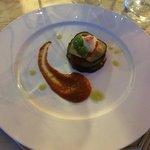 parmigianina di melanzane e gamberi rossi
