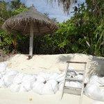 villa sans plage, sacs de sable