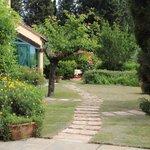 Blick vom Eingangstor in den Garten