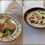 Shrimp Boudin Blanc (left) and Chilled artichoke & crab soup