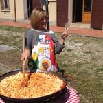 Marina preparing fabulous pasta for the group at a cookout at her beautiful villa.