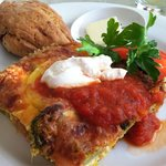 Veggie strada (breakfast frittata) and a scone - one of my favorite breakfasts! Hearty, filling