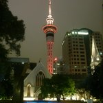 St. Patrick's Cathedral & Auckland Tower in the night