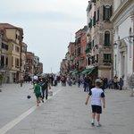 Street scene tableside at Ristorante Biennale in Venice