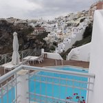 View back at Fira from patio