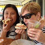 Deb and Somenette enjoying their smoked salmon bagels on on gorgeous summer day