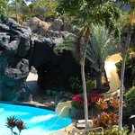 Waterslide and waterfalls at lagoon pool