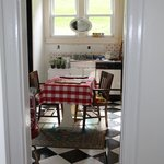 A view from the Hallway into the Kitchen