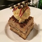 Tiramisu with cinnamon icecream.