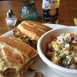 "The ""Monster Cuban Sandwich"" with the Garbanzo salad."