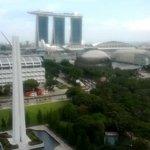 View towards the Marina bay sands hotel.