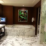 Only the finest. A seperate tub/and shower with plasma TV, double sinks, white marble, MORE, all