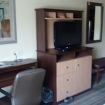 TV, desk and chair.