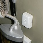 the light switch behind the fan.  I was placed low.  about knee high