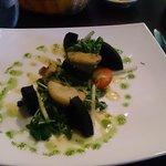 Black pudding and caramelized apple salad
