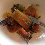 Porc et crème de choux fleur et tomates anciennes