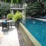 Pool area, nice in steamy Bangkok