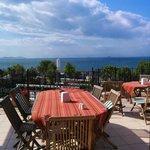Sunny breakfast on south side terrace