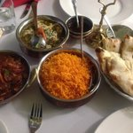 Beautiful curry, rice, naan and chutney