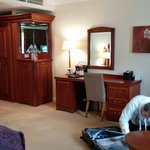 Seating, fridge, dressing table area
