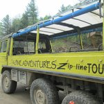 Pinzgauer brings you to the zip line start -- the ride in this is a little adventure in itself.