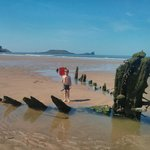 Wreck on Rhossili Beach, Worms head in the background