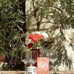 Une petite table sous l'olivier