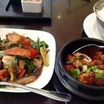 Tofu and veggie stir fry, fish clay pot