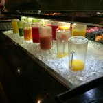 Juice selection at breakfast