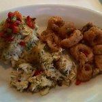 Crab cake and calamari