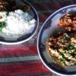 saltfish, seafood salad, white rice and rice and peas