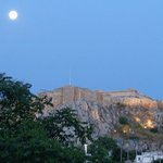 Moonset over Acropolis -- View from Electra Palace Hotel