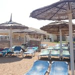view from beach upto beach bar/snack area
