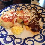 Combination- two chile cheese relleno and chicken enchilada. Soooo good!!