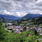 The view over Werfen on the walk down to the parking area