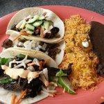 Korean beef, carne asada, and Ninja pork tacos
