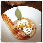 Comfort food at its best. Mushroom soup topped with a poached egg & bacon!
