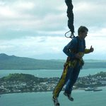 A bungee jumper - as seen from the tower