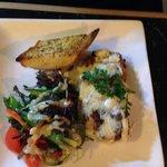 Beef lasagne special with garlic bread and salad
