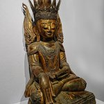 Seated Buddha rom Burma-Myanmar 19th century CE lacquered and gilded wood