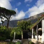 View from the court yard looking up at Table Mountain.